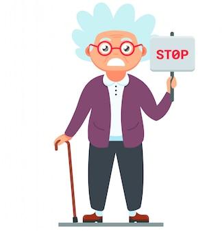 Velha descontente com um sinal de stop