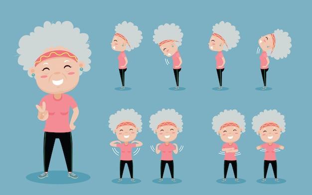 Velha mulher feliz por exercer