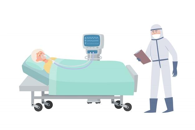 Velha na cama de hospital com máscara de oxigênio e ventilador