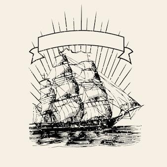 Velha, navio, logotipo, ilustração
