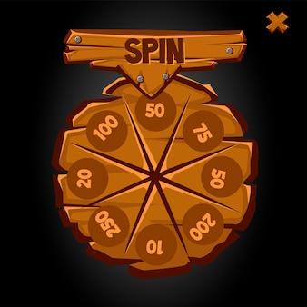 Velha roda da fortuna redonda de madeira com números