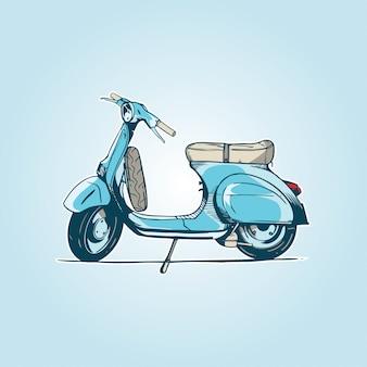 Velha scooter turquesa