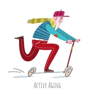 Velho andando de scooter. conceito de envelhecimento ativo plano fofo isolado no branco