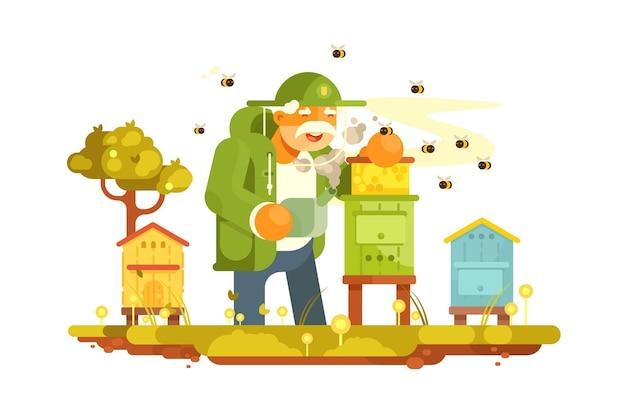 Velho apicultor no jardim das abelhas. apiário em pitoresco lugar verde