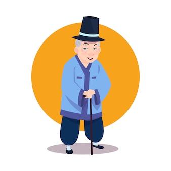 Velho, asiático, homem, desgastar, tradicional, coreano, traje sênior, avô, com, vara, em, nacional, coréia, roupas