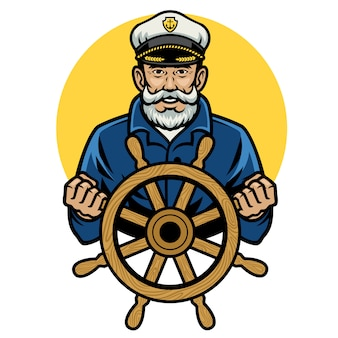 Velho capitão de marinheiro segurar a roda do navio