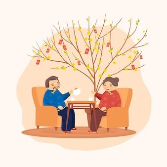 Velho casal asiático na hora do chá