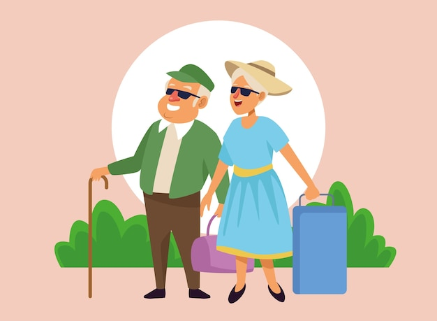 Velho casal com malas nos personagens de idosos ativos do acampamento.