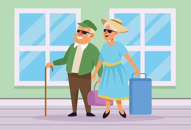 Velho casal com malas nos personagens de idosos ativos em casa.