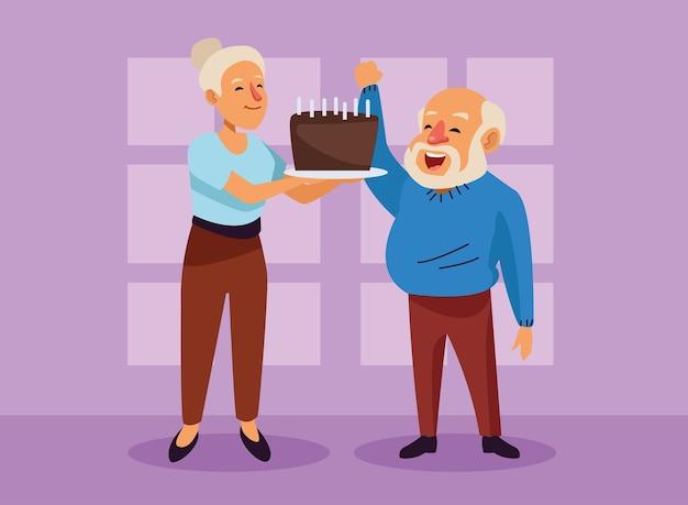 Velho casal com personagens de idosos ativos de bolo doce.