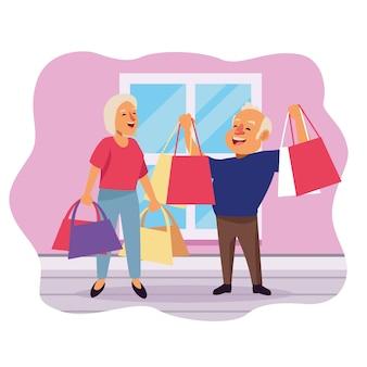 Velho casal com sacos ensopados nos personagens de idosos ativos em casa.