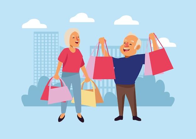 Velho casal com sacos ensopados sobre os personagens idosos ativos da cidade.