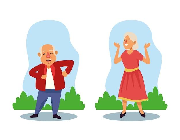 Velho casal dançando nos personagens de idosos ativos em campo.