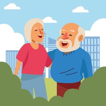 Velho casal feliz com os personagens de idosos ativos da cidade.