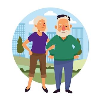 Velho casal sobre os personagens de idosos ativos da cidade.
