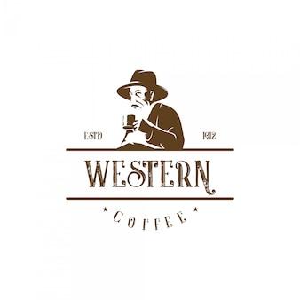 Velho chapéu de cowboy bebendo café