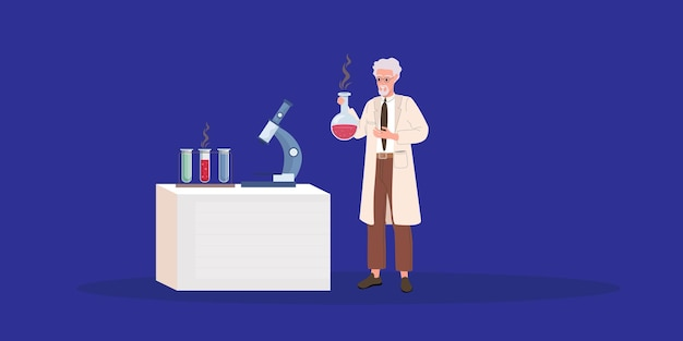 Velho cientista maluco. doutor louco. ilustração vetorial de desenho animado