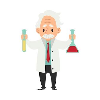 Velho cientista vestindo jaleco com frasco e tubo de ensaio