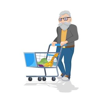 Velho com carrinho de compras comprando comida isolado no branco