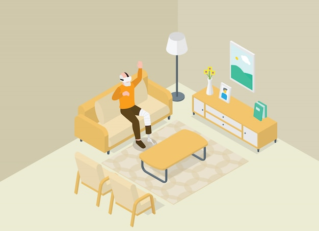 Velho com deficiência brincando com realidade virtual vr da sala de estar