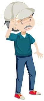Velho com dor de cabeça, conceito de doença