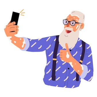 Velho desenho animado com vitiligo tira uma selfie para projeto médico. cuidados de saúde.