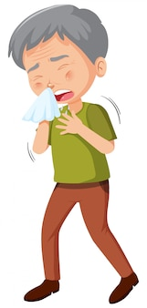 Velho doente caughing