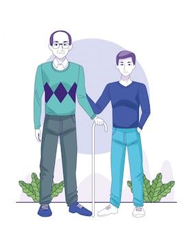 Velho e menino em pé ícone sobre plantas decorativas e fundo branco, ilustração vetorial