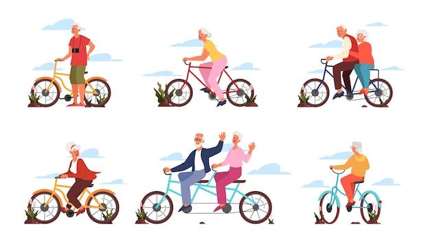 Velho e mulher andando de bicicleta colorida. vida ativa ao ar livre para pessoas idosas. avô e avó andando de bicicleta. atividade de verão.