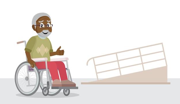 Velho em cadeira de rodas dirigindo e rampa
