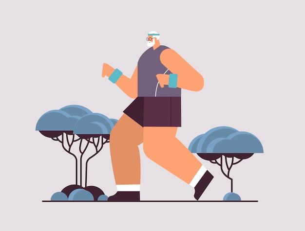 Velho em roupas esportivas executando um aposentado sênior do sexo masculino fazendo exercícios físicos atividades ao ar livre e esporte fitness conceito de estilo de vida saudável ilustração vetorial de corpo inteiro horizontal