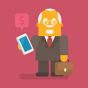 Velho empresário segurando o celular e a mala. personagem de vetor. ilustração vetorial