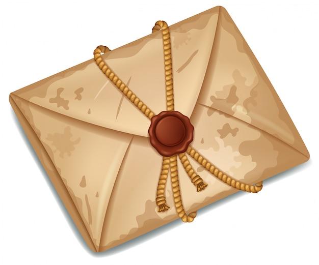 Velho envelope selado com selo de cera vermelha