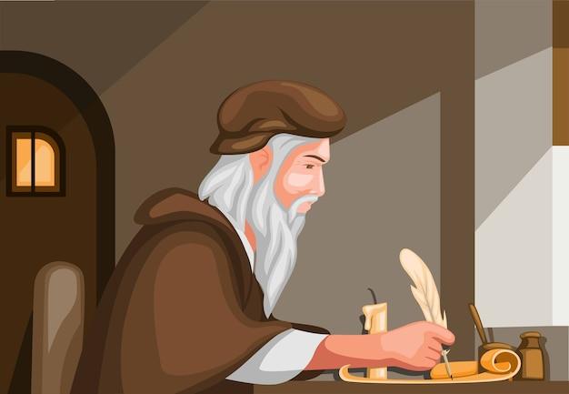 Velho escrevendo com caneta de pena no papel pergaminho, cena da história da biografia