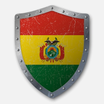 Velho escudo com a bandeira da bolívia