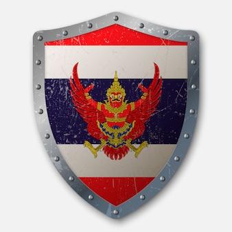 Velho escudo com bandeira da tailândia