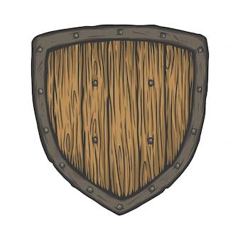 Velho escudo de madeira