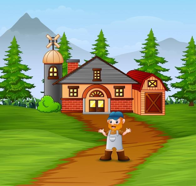 Velho fazendeiro em pé mostrando sua fazenda