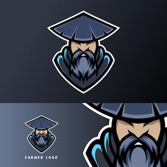 Velho fazendeiro mascote esporte esport logotipo modelo com boné, barba, chapéu