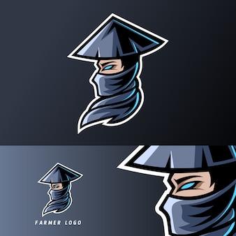Velho fazendeiro mascote jogos esporte esport logotipo modelo com boné, barba, chapéu
