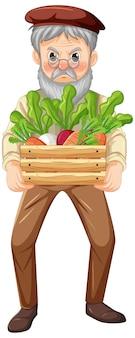 Velho fazendeiro segurando uma caixa de madeira com vegetais isolados