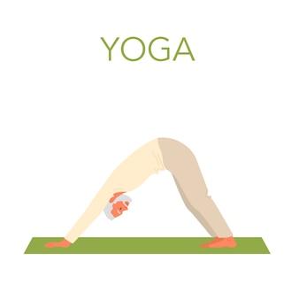 Velho fazendo ioga. asana ou exercício para idosos. saúde física e mental. relaxamento corporal e meditação. treinamento de aposentados. ilustração plana isolada