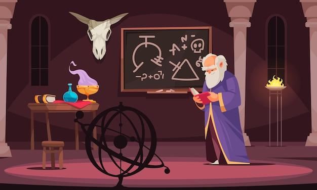Velho feiticeiro lendo livro de alquimia em uma sala com mesa de crânio animal com ferramentas alquímicas ilustração dos desenhos animados