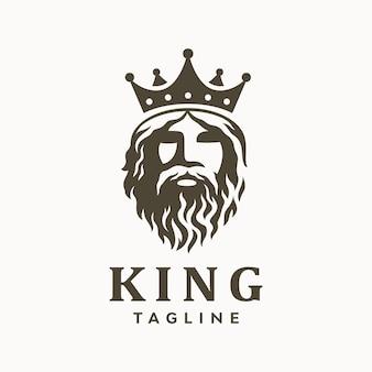 Velho grego barbudo rei com logotipo da coroa.