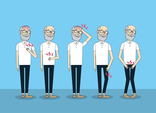 Velho homem com prevenção de diagnóstico de doença