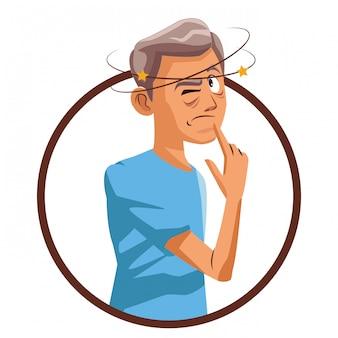 Velho homem de alzheimer
