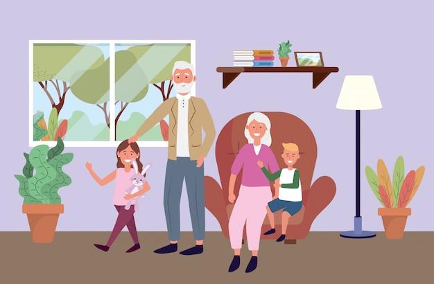 Velho homem e mulher com crianças e plantas