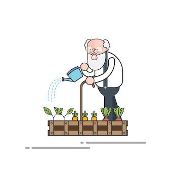 Velho homem molhando suas plantas