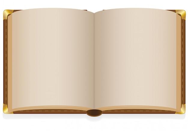 Velho livro aberto com folhas em branco