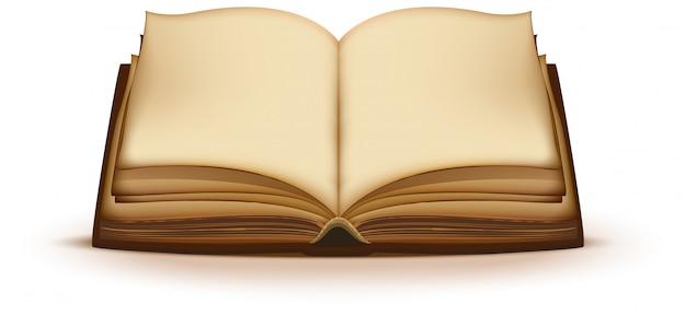 Velho livro de magia aberto com páginas em branco